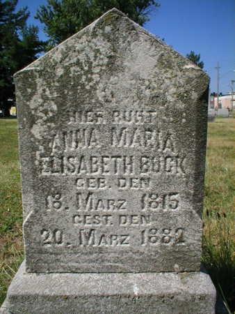 BUCK, ANNA MARIA ELISABETH - Scott County, Iowa | ANNA MARIA ELISABETH BUCK