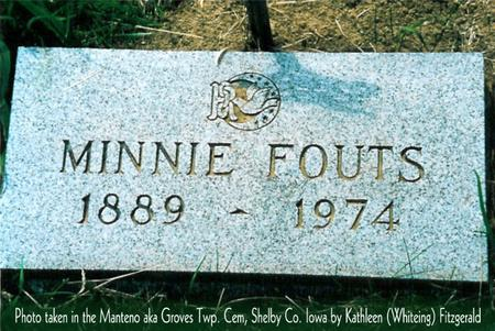SEDA FOUTS, MINNIE MAE - Shelby County, Iowa | MINNIE MAE SEDA FOUTS