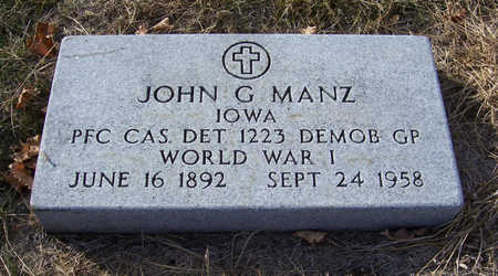 MANZ, JOHN G. (MILITARY) - Shelby County, Iowa | JOHN G. (MILITARY) MANZ