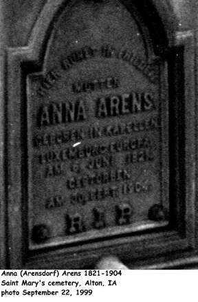 ARENSDORFF ARENS, ANNA - Sioux County, Iowa | ANNA ARENSDORFF ARENS
