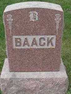 BAACK, HEADSTONE - Sioux County, Iowa | HEADSTONE BAACK