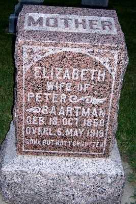 BAARTMAN, ELIZABETH (MRS. PETER) - Sioux County, Iowa | ELIZABETH (MRS. PETER) BAARTMAN