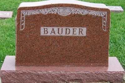 BAUDER, HEADSTONE - Sioux County, Iowa | HEADSTONE BAUDER