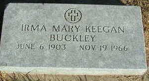 KEEGAN BUCKLEY, IRMA MARY - Sioux County, Iowa | IRMA MARY KEEGAN BUCKLEY