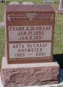 DEGRAAF, ARTA  (MRS. FRANK) - Sioux County, Iowa | ARTA  (MRS. FRANK) DEGRAAF