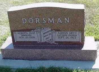 HARMELINK DORSMAN, ALBERTA JANE - Sioux County, Iowa | ALBERTA JANE HARMELINK DORSMAN