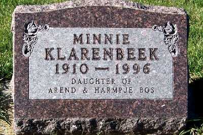 BOS KLARENBEEK, MINNIE - Sioux County, Iowa | MINNIE BOS KLARENBEEK