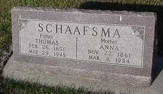 SCHAAFSMA, ANNA (MRS. THOMAS) - Sioux County, Iowa | ANNA (MRS. THOMAS) SCHAAFSMA