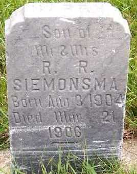 SIEMONSMA, HARRY (1904-1906) - Sioux County, Iowa | HARRY (1904-1906) SIEMONSMA