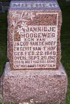 VANDEHOEF, JANNIGJE (MRS. JACOB) - Sioux County, Iowa | JANNIGJE (MRS. JACOB) VANDEHOEF
