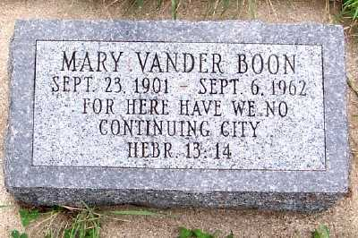 VANDERBOON, MARY - Sioux County, Iowa | MARY VANDERBOON