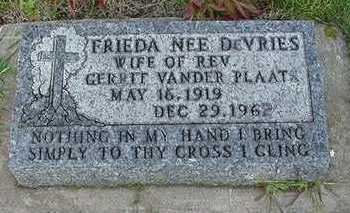DEVRIES VANDERPLAATS, FRIEDA (MRS. REV. GERRIT) - Sioux County, Iowa | FRIEDA (MRS. REV. GERRIT) DEVRIES VANDERPLAATS