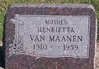 VANMAANEN, HENRIETTA - Sioux County, Iowa | HENRIETTA VANMAANEN