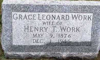 WORK, GRACE (MRS. HENRY T.) - Sioux County, Iowa | GRACE (MRS. HENRY T.) WORK
