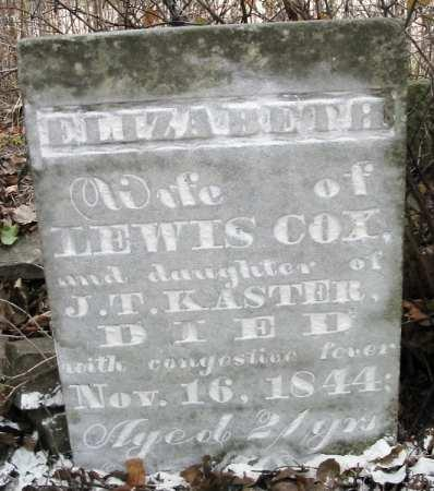 KASTOR COX, ELIZABETH - Van Buren County, Iowa | ELIZABETH KASTOR COX