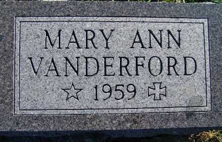 VANDERFORD, MARY ANN - Warren County, Iowa | MARY ANN VANDERFORD