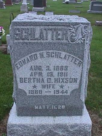 HIXSON SCHLATTER, BERTHA - Washington County, Iowa | BERTHA HIXSON SCHLATTER