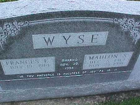 WYSE, FRANCES - Washington County, Iowa | FRANCES WYSE