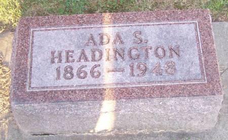 HEADINGTON, ADA S - Winneshiek County, Iowa   ADA S HEADINGTON