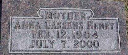 CASSENS HENRY, ANNA - Woodbury County, Iowa | ANNA CASSENS HENRY