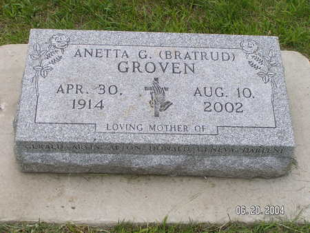 BRATRUD GROVEN, ANETTA G. - Worth County, Iowa | ANETTA G. BRATRUD GROVEN